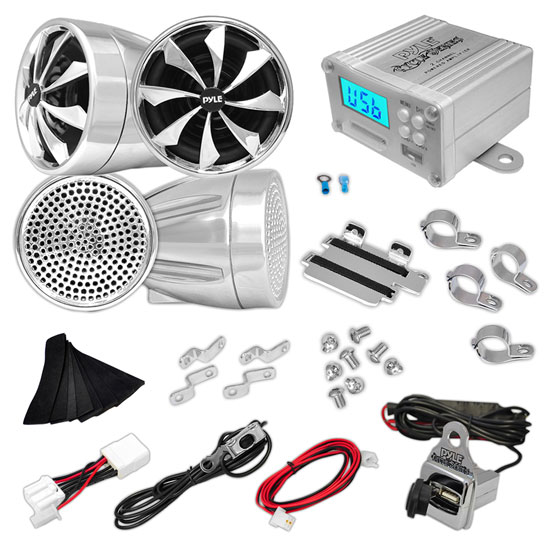 Pyle PLMCA98 1200w Motorcycle Motorbike Speakers Amplifier USB SD Mp3 FM