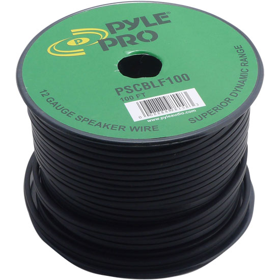 Pyle 12AWG 100Ft Professional DJ PA Cabinet Amplifier Speaker Cable Spool Reel