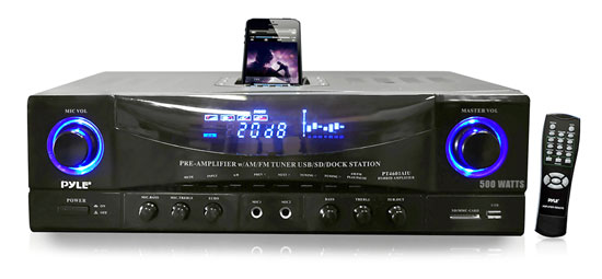 Pyle Home PT4601AIU 500w 2 Channel Amplifier Tuner USB SD Card iPod Dock MP3