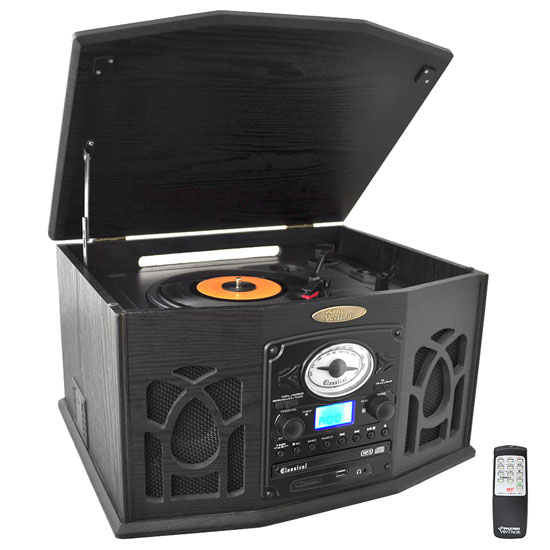 PyleHome PTCDS7UIB Retro Vintage Turntable System with Built In Speaker
