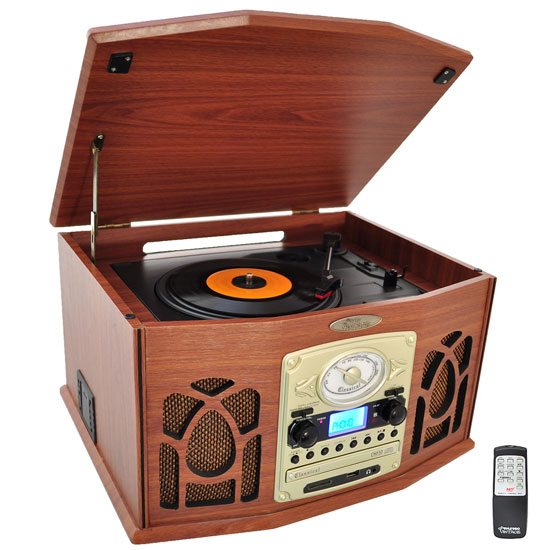 PyleHome PTCDS7UIW Retro Vintage Turntable System with Built-in Speaker