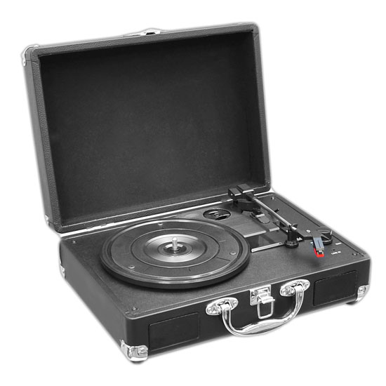 PVTT2UBK Rechargeable Retro Belt-Drive Turntable Built in Speakers & USB-to-PC