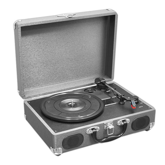 PVTT2UGR Rechargeable Retro Belt-Drive Turntable Built in Speakers & USB-to-PC
