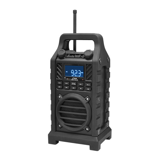 Pyle PWPBT250BK Rugged Portable Outdoor Bluetooth Speaker With Radio Black
