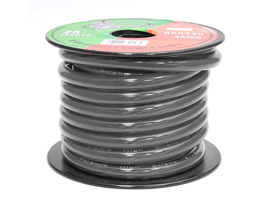 RPB425 12v 4 AWG Gauge Black Amp Wiring Ground Wire 25 ft. OFC Copper