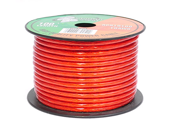 Pyramid RPR10100 10 Awg Gauge Clear Red Car Audio Amplifier Power Wire 100ft OFC