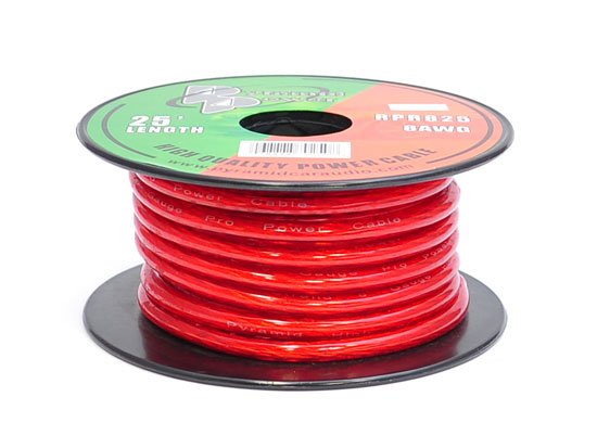 Pyramid RPR825 8 Gauge Clear Red Power Wire 25 ft. OFC