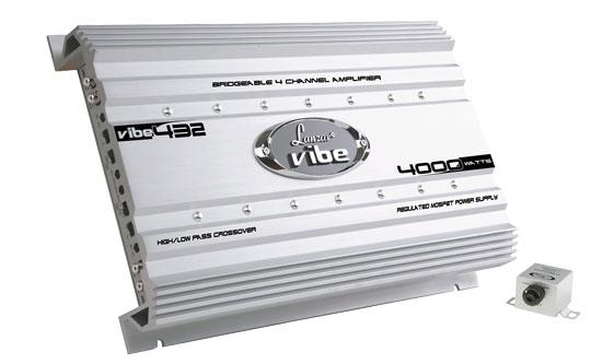 Lanzar VIBE432 Vibe 4000W 4 Channel Bridgeable Full Range Car Amp Amplifier