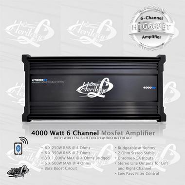 Lanzar HTG668BT Heritage Series 4000 Watt 6-Channel Mosfet Amplifier with Wireless Bluetooth Audio Interface Thumbnail 3