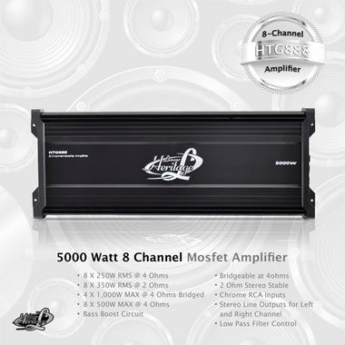 Lanzar HTG888 Heritage 5000w 8 Channel 12v Car Speakers Stereo Mosfet Amplifier Thumbnail 3