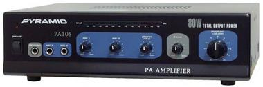 Pyramid PA105 80 Watt Microphone AC & DC 12v PA Amplifier 70V & Mic Talkover Thumbnail 1