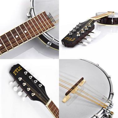 PYLE PBJ20 8-String Mandolin-Banjo Hybrid with White Jade Tuner Pegs, Rosewood Fretboard, 23'' Total Length Thumbnail 3