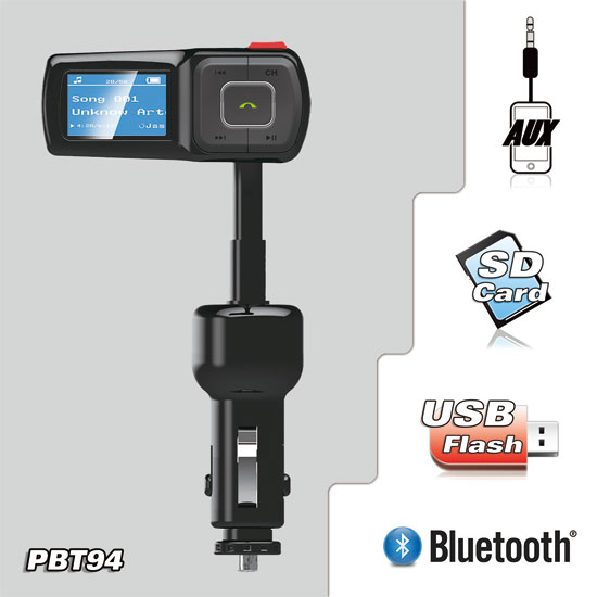 Car Audio Stereo Bluetooth FM Transmitter & MP3 Player USB, SD Card, 3.5mm Input Thumbnail 2