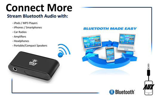 Pyle PBTR30 Bluetooth Receiver Audio Built-in Microphone Call Answering A2DP Thumbnail 4