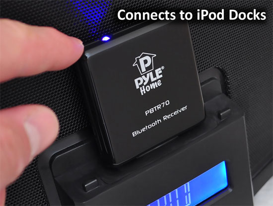 Pyle PBTR70 Bluetooth A2DP Audio Adapter Receiver 30-Pin Apple Connector Dock Thumbnail 3