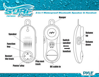 Pyle PBTWP24BK Surf Sound 2-in-1 WaterProof Bluetooth Wireless Speaker Handset Thumbnail 3