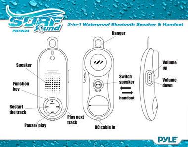 Pyle PBTWP24WT Surf Sound 2-in-1 WaterProof Bluetooth Wireless Speaker Handset Thumbnail 3