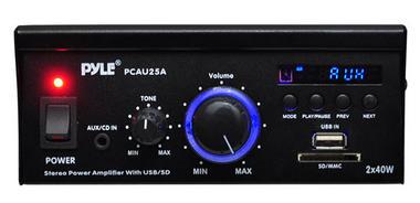 Pyle PCAU25A 2 x 40 Watt Stereo Power Amplifier USB/SD AUX Player & Remote Thumbnail 2