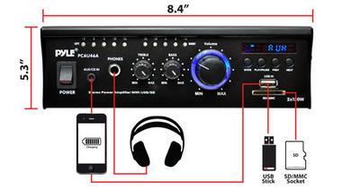 Pyle PCAU46A 2 x 120 Watt Stereo Mini Power Amplifier USB/SD AUX Player & Remote Thumbnail 4