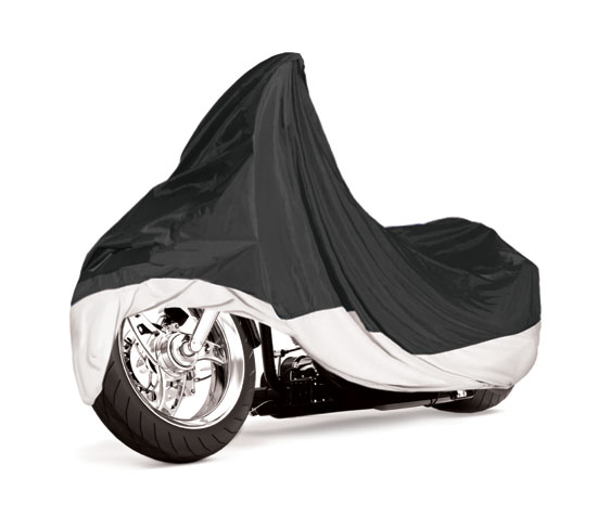 Armor Shield Motorcycle Cover Fits Bikes up to 1500cc Full Dress Black Silver Thumbnail 1