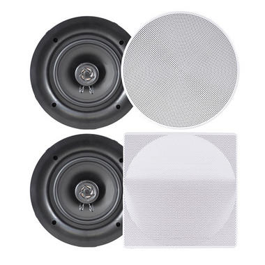 Pyle PDIC66 In-Wall/In-Ceiling 6.5-Inch Dual Stereo Speakers, 200 Watt, 2-Way, Flush Mount, White by Pyle Thumbnail 1