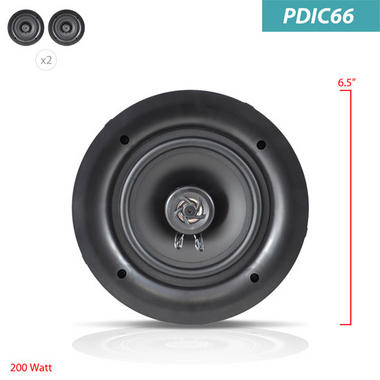 Pyle PDIC66 In-Wall/In-Ceiling 6.5-Inch Dual Stereo Speakers, 200 Watt, 2-Way, Flush Mount, White by Pyle Thumbnail 4