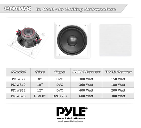 Pyle Home PDIWS8 8'' In-Wall / In-Ceiling High Power Subwoofer Sub Speaker Thumbnail 5