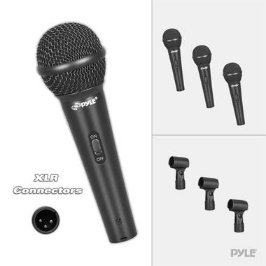 PylePro PDMICKT80 Set of 3 Dynamic Cardioid Vocal Microphones with Clips, 3-Pack Thumbnail 2