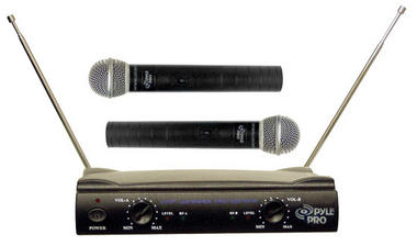 Pyle Pro Dual Twin VHF DJ Party Karaoke Wireless Handheld Microphone System Thumbnail 1