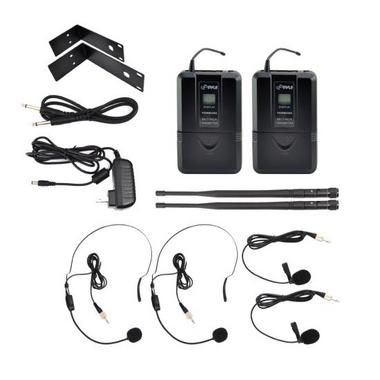 Pyle PDWM3365 2 Channel UHF Wireless Microphone System 2 Lavalier 2 Headsets Thumbnail 5