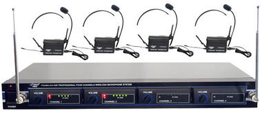 PYLE-PRO PDWM4400 - 4 Mic VHF Wireless Lavalie/ Headset System Thumbnail 1