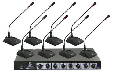 Pyle Pro Eight VHF DJ Wireless Conference Desktop Desk Mics Microphone System Thumbnail 1