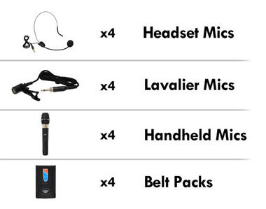 Pyle-Pro 8 Channel Wireless Microphone With 4 Lavalier Headsets Handheld Thumbnail 3
