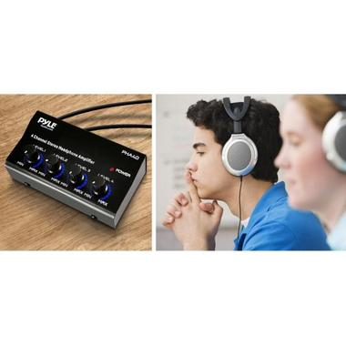 Pyle Pro Music DJ 4 Channel Compact Stereo Headphone Amplifier Distribution Amp Thumbnail 4