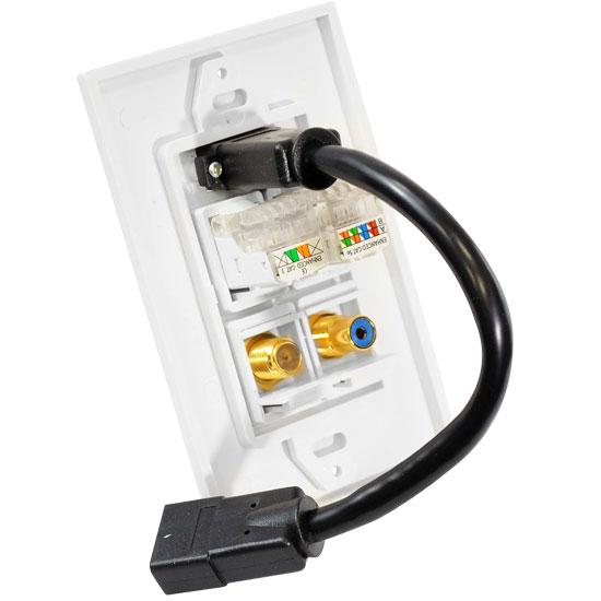 Pyle Hi Fi Cinema AVR RJ11 RJ45 Coaxial RCA HDMI Wall Plate Socket Block White Thumbnail 2
