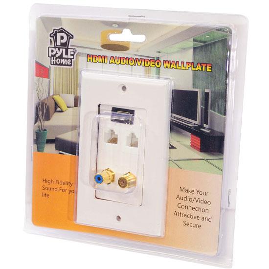 Pyle Hi Fi Cinema AVR RJ11 RJ45 Coaxial RCA HDMI Wall Plate Socket Block White Thumbnail 6
