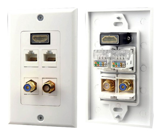 Pyle PHDM2RJRF1 HDMI Mono RCA Home Audio Coaxial Dual Ethernet Combo Wall Plate Thumbnail 1