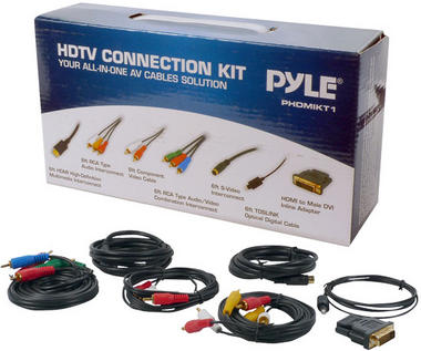 Pyle PHDMIKT1 HDTV Audio/Video Cable Kit Compatible w/ Plasma LCD/LED/DLP/DVD Thumbnail 1
