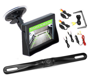 Pyle PLCM4350WIR 4.3'' Monitor Wireless Back-Up Rearview & License Plate Camera Thumbnail 1
