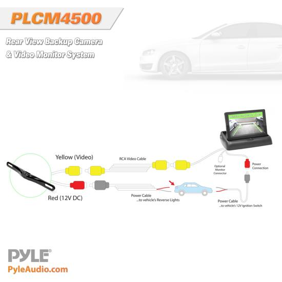 "Pyle PLCM4500 Reversing Camera 4.3"" Inch Pop-Up Monitor With Rear View Camera Thumbnail 4"