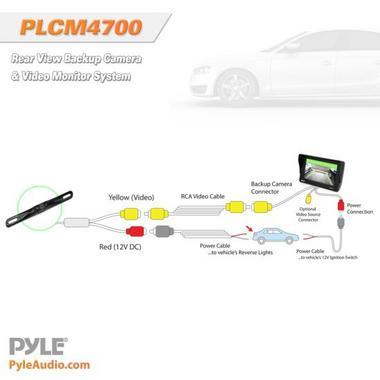 "Pyle PLCM4700 4.7"" Window Mount Monitor Rear View Reversing Camera Set Thumbnail 4"