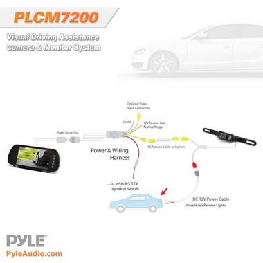 "Pyle PLCM7200 7"" TFT Mirror Monitor with Rearview Night Vision IR Camera Thumbnail 4"