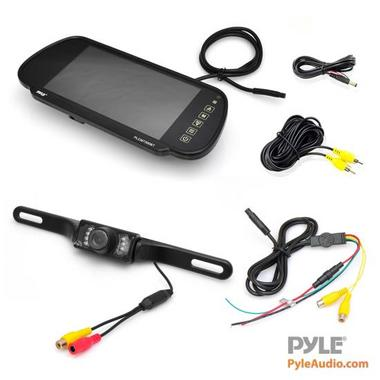 "Pyle PLCM7200 7"" TFT Mirror Monitor with Rearview Night Vision IR Camera Thumbnail 2"