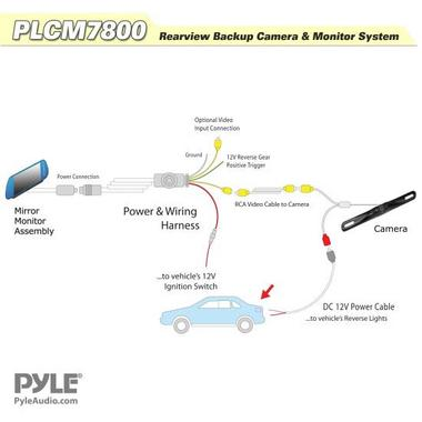 "Pyle PLCM7800 7"" Rear View TFT Mirror Monitor With Numberplate Reverse Camera Thumbnail 2"
