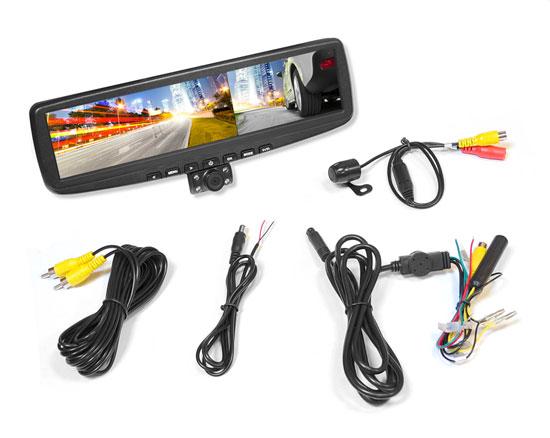 "New PLCMDVR5 HD 4.3""LCD RearView Car Mirror & DVR Recorder W/Dual Swivel Cameras Thumbnail 1"