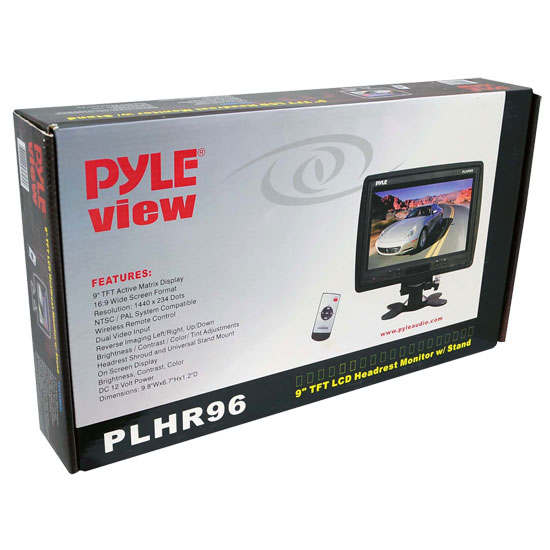 Pyle PLHR96 12v Car Van 9'' TFT LCD Headrest Monitor Screen With Stand (Black) Thumbnail 6