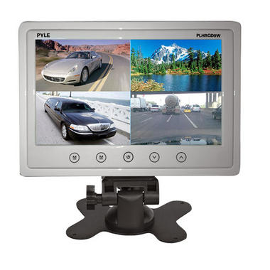 "Pyle PLHRQD9W 9"" Quad TFT LCD Security 4 Camera Video Monitor With Shroud Stand Thumbnail 1"