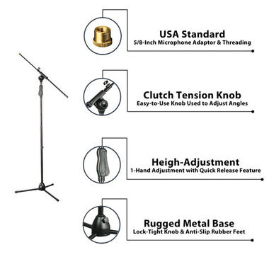 PylePro PMKS38 Universal Tripod Microphone Stand with Easy Grip, Push Height, Adjustable and Extendable Thumbnail 2