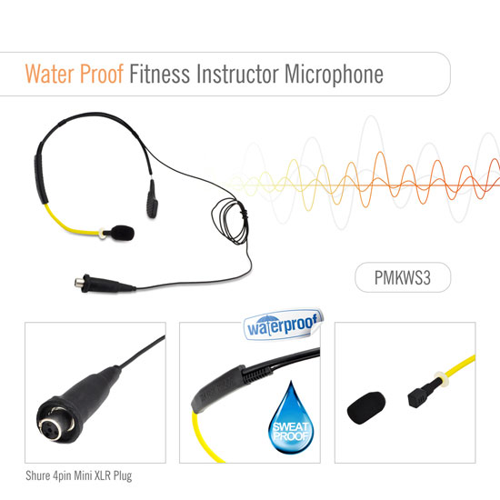 Pyle PMKWS3 Flexible Waterproof headset for Exercise/Fitness Shure Connector Thumbnail 2
