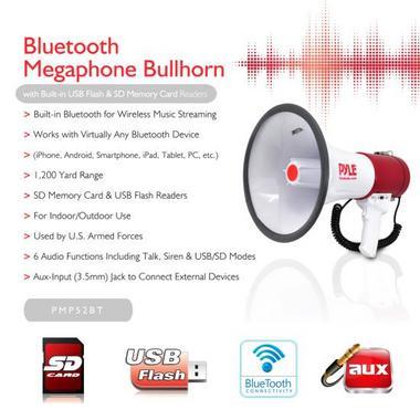 Pyle PMP52BT Bluetooth Megaphone Bullhorn AUX (3.5mm) Input Built-in USB Flash Thumbnail 2